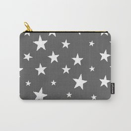 Hand-Drawn Stars (White & Grey Pattern) Carry-All Pouch