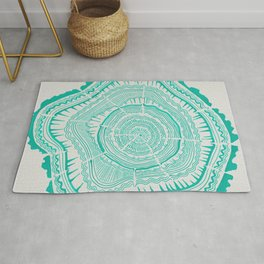 Turquoise Tree Rings Rug