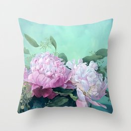 Pink Peonies The Three Sisters Floral Throw Pillow