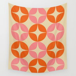 Mid Century Modern Pattern in Pink and Orange Wall Tapestry