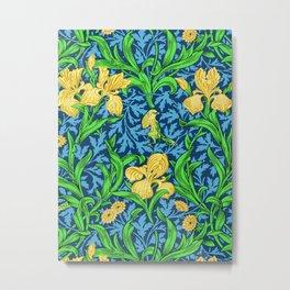 William Morris Irises, Yellow and Cobalt Blue Metal Print