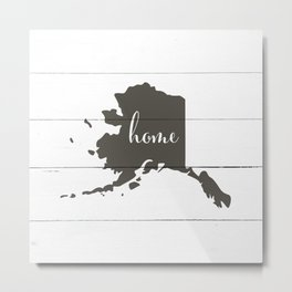 Alaska is Home - Charcoal on White Wood Metal Print