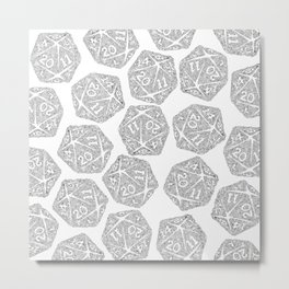 d20 - black and white icosahedron - automatic art pattern and print Metal Print