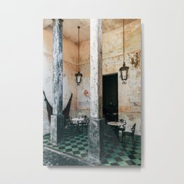 Coffee and frescoes in ex-hacienda in Mexico Metal Print
