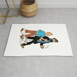 Tintin, Snowy and Captain Haddock Artwork for Wall Art, Prints, Posters, Tshirts, Men, Women, youth Rug