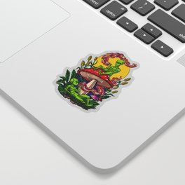 Aliens Magic Mushrooms Smoking Psychedelics Sticker