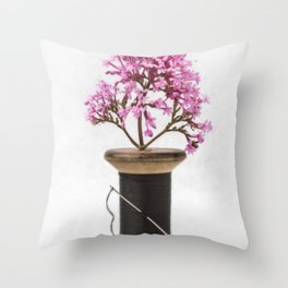 Wooden Vase Throw Pillow
