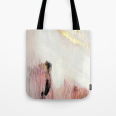 Sunrise [2]: a bright, colorful abstract piece in pink, gold, black,and white Tote Bag