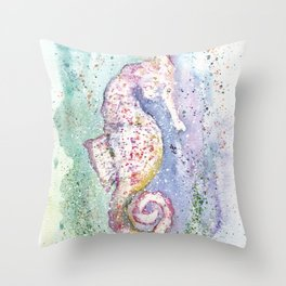Seahorse Watercolor Illustration Throw Pillow