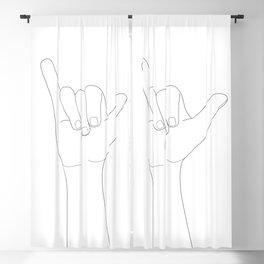 Minimal Line Art Shaka Hand Gesture Blackout Curtain