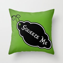 """""""Squeeze Me"""" Alice in Wonderland styled Bottle Tag Design in 'Garden Green' Throw Pillow"""