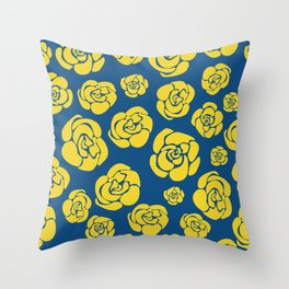 Yellow roses on classic blue Throw Pillow