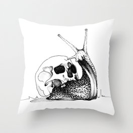 This Skull Is My Home (Snail & Skull) Throw Pillow