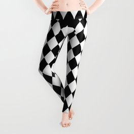 Classic Black and White Harlequin Diamond Check Leggings