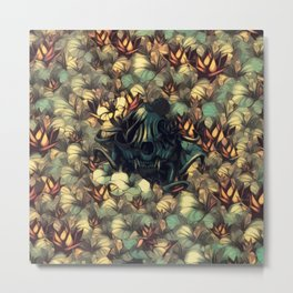 The skull, the flowers and the Snail Warm Metal Print