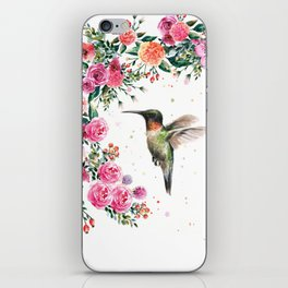 Hummingbird and Flowers Watercolor Animals iPhone Skin