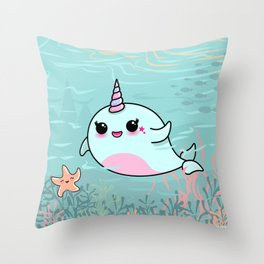 Cute Narwhal and Starfish Throw Pillow