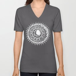 Black Moon Mandala Unisex V-Neck