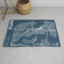 Seattle Blueprint Street Map, Seattle Colour Map Prints Rug