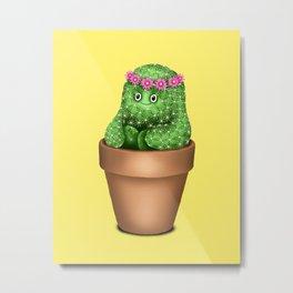 Cute Cactus (Yellow Background) Metal Print