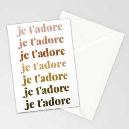 je t'adore in earthy colors Stationery Cards