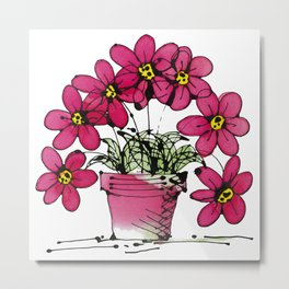 Seven Flowers (Pink): gorgeously simple original art, vibrant flowers in a pot Metal Print