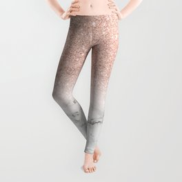 Modern faux rose gold pink glitter ombre white marble Leggings