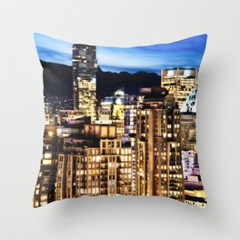 0576 Twilight Vancouver and ShangriLa Hotel Throw Pillow