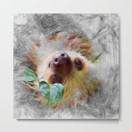 Artistic Animal Sloth Metal Print