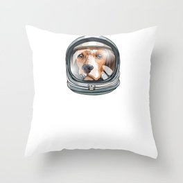 Spaced Out Astronaut Beagle Outserspace Science Geek Throw Pillow