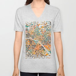 Paris mosaic map #3 Unisex V-Neck