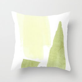 Minimalist Brushtroke Painting Butter Yellow Olive Green Throw Pillow