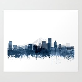 Portland Skyline Navy Blue Watercolor by Zouzounio Art Art Print