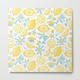 Lemon pattern White Metal Print
