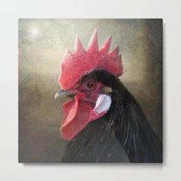 Black Rooster Metal Print