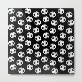 Soccer Ball Pattern-Black Metal Print
