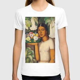 Mujer con Fiores (Bell Flowers, Dahlia & Calla Lilies) by Alfredo Martinez T-shirt