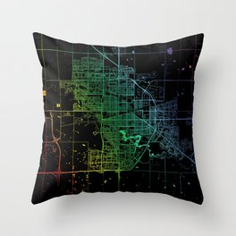 Regina, SK, Canada, City, Map, Rainbow, Map, Art, Print Throw Pillow