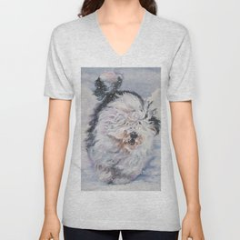 Old English Sheepdog dog art from an original painting by L.A.Shepard Unisex V-Neck