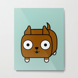 Pitbull Loaf - Red Brown Pit Bull with Cropped Ears Metal Print