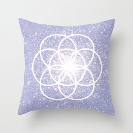Violet Seed of Life Boho Style Sacred Geometry Throw Pillow