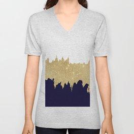 Modern navy blue white faux gold glitter brushstrokes Unisex V-Neck