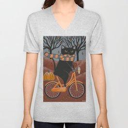 Black Cat Autumn Bicycle Ride Unisex V-Neck