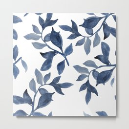 Indigo Leaves Watercolour painting Metal Print