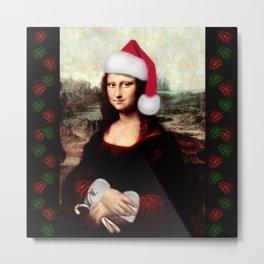 Mona Lisa Wearing a Santa Hat Metal Print