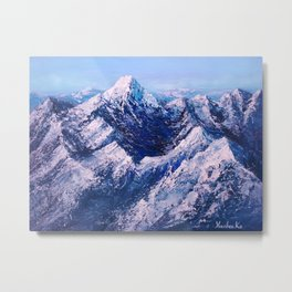 Textured Mountain Painting for Dad Metal Print