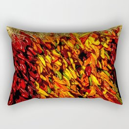 Ristras made from green, yellow, orange and red chile peppers Rectangular Pillow