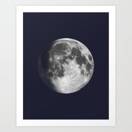 Waxing Gibbous Moon on Navy Art Print