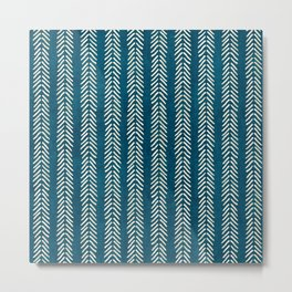 Mud cloth Teal Arrowheads Metal Print