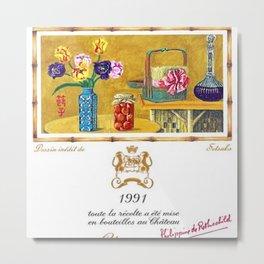 Vintage 1991 Chateau Mouton Rothschild Wine Bottle Label Print Metal Print